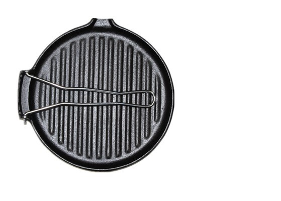 Round griddle with folding handle